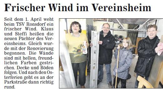 Neuer Wind im TSV Vereinsheim