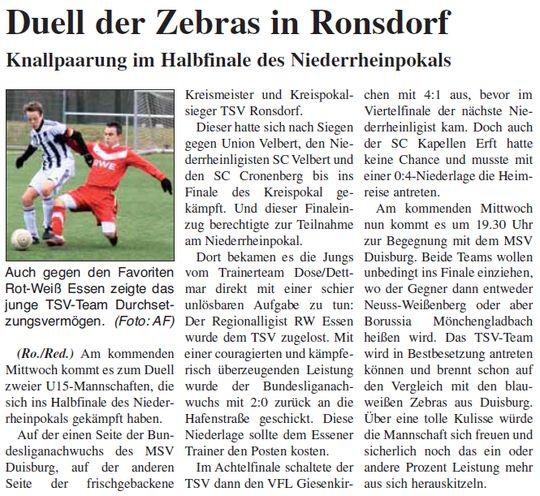Unsere C1 im Niederrheinpokal Halbfinale
